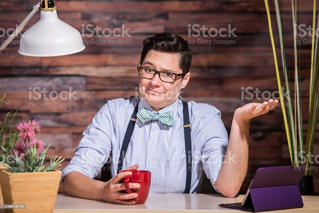 Indifferent Woman in Bowtie stock photo