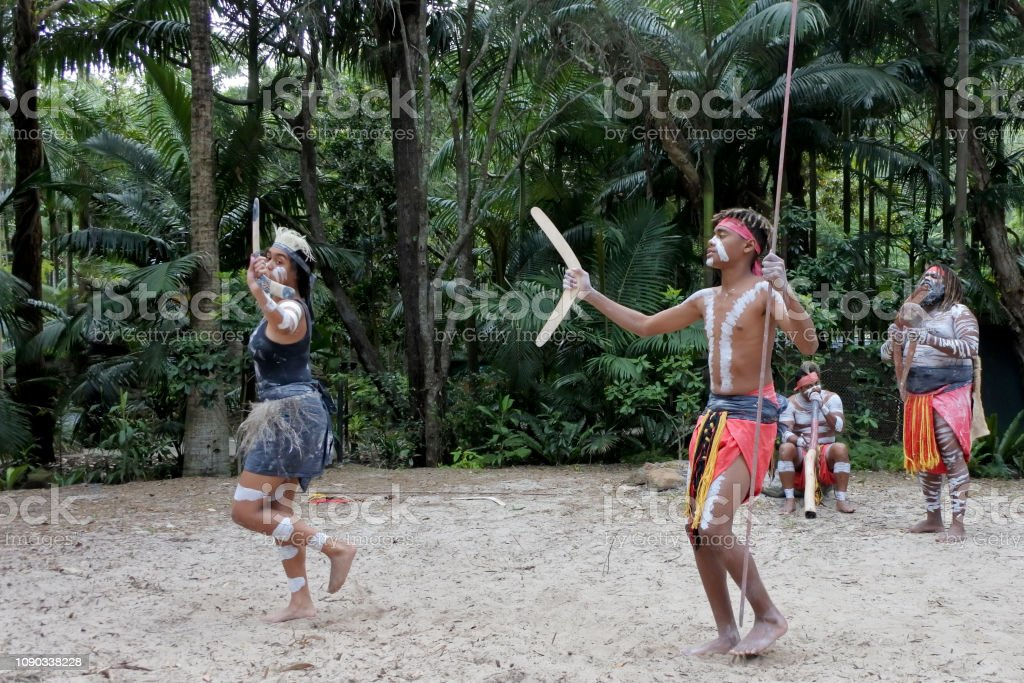 Indigenous Australians People Dancing to Didgeridoo Musical Instrument Sound Rhythm stock photo