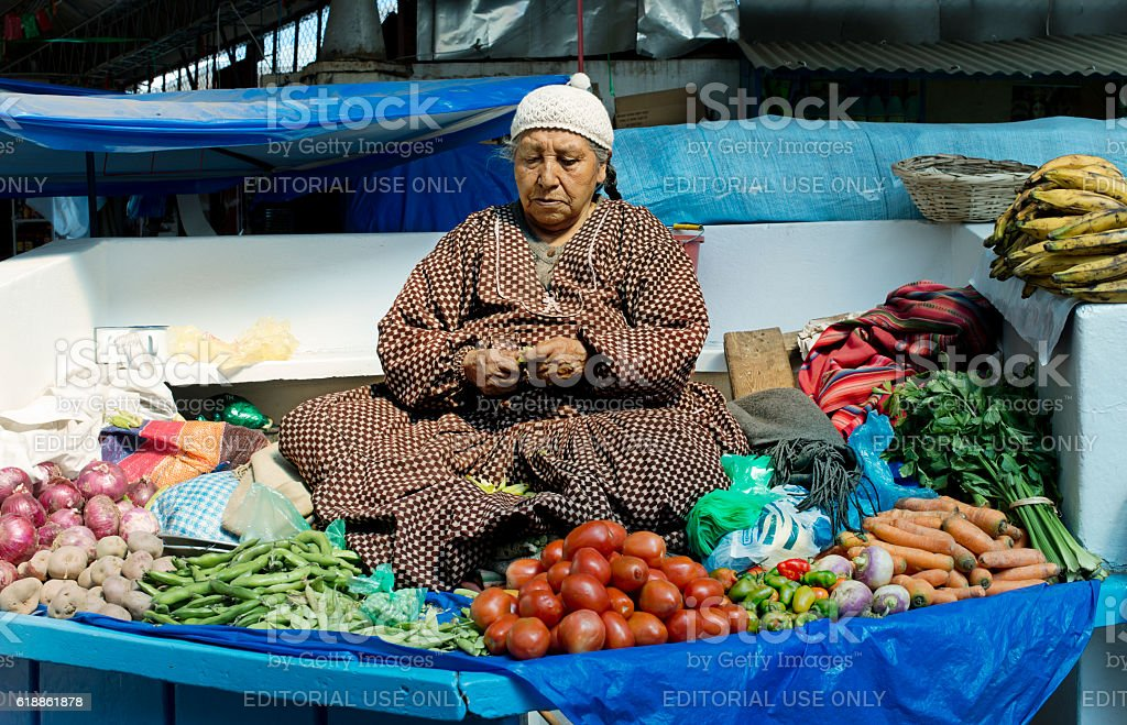 Indigenous Bolivian woman selling vegetables at the market stock photo
