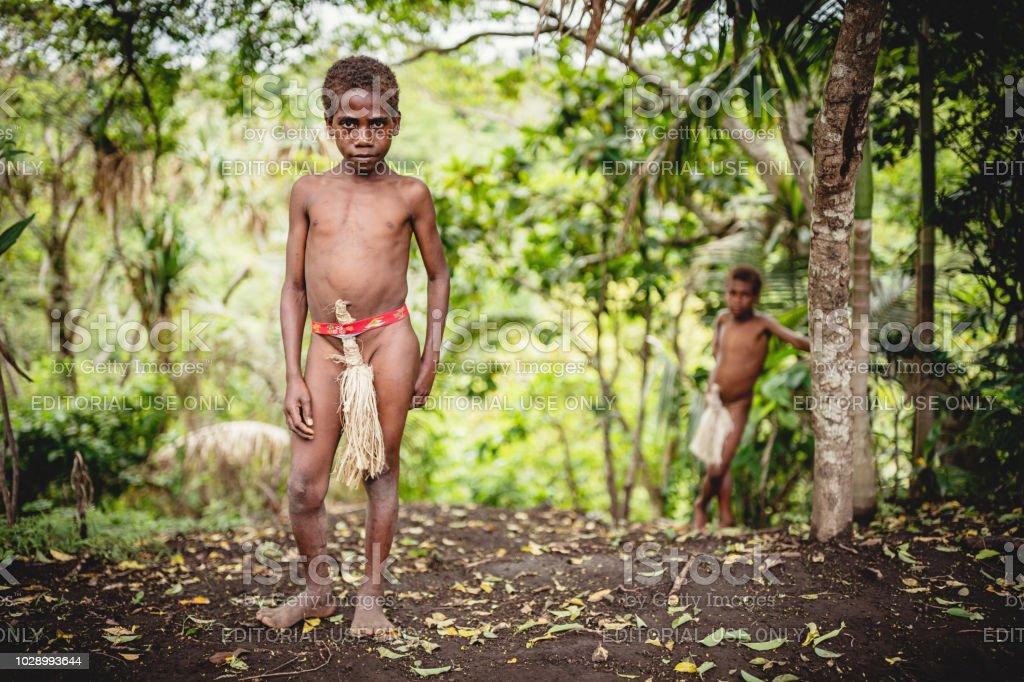 Indigenous Boys Rainforest Tanna Island Vanuatu stock photo