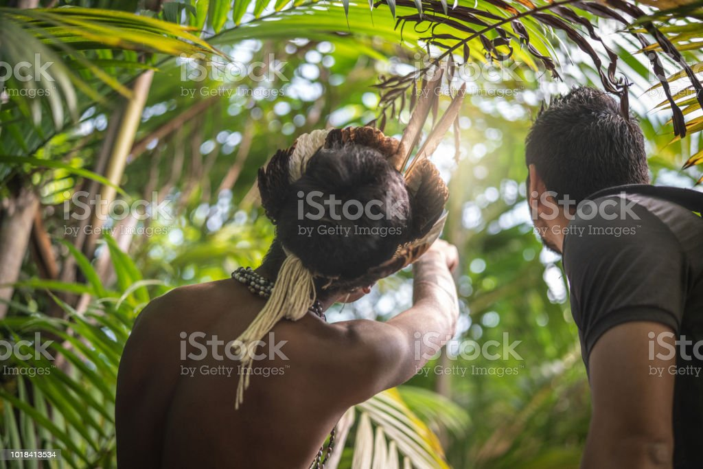 Indigenous Brazilian Young Man from Guarani ethnicity Showing the Rainforest to Tourist stock photo