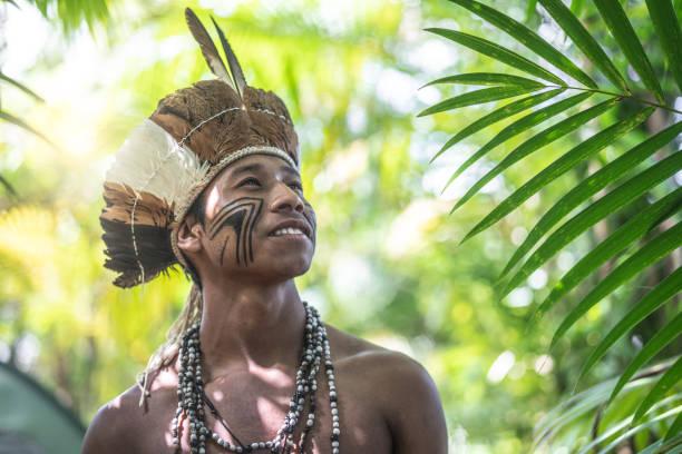 Indigenous Brazilian Young Man Portrait from Guarani Ethnicity stock photo
