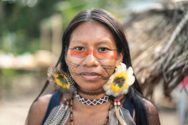 Indigenous Brazilian Young Woman, Portrait from Guarani Ethnicity stock photo