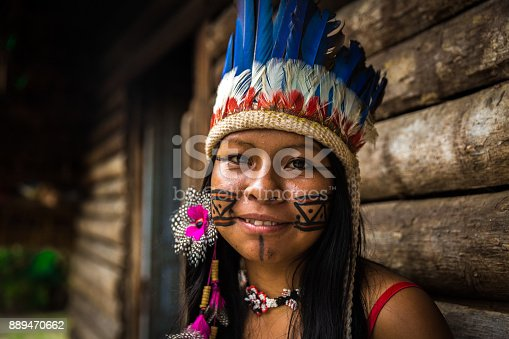 istock Indigenous girl from Tupi Guarani tribe in Manaus, Brazil 889470662