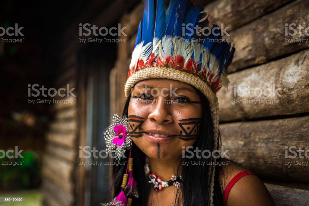Indigenous girl from Tupi Guarani tribe in Manaus, Brazil stock photo