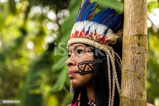 istock Indigenous girl from Tupi Guarani tribe in Manaus, Brazil 889684434