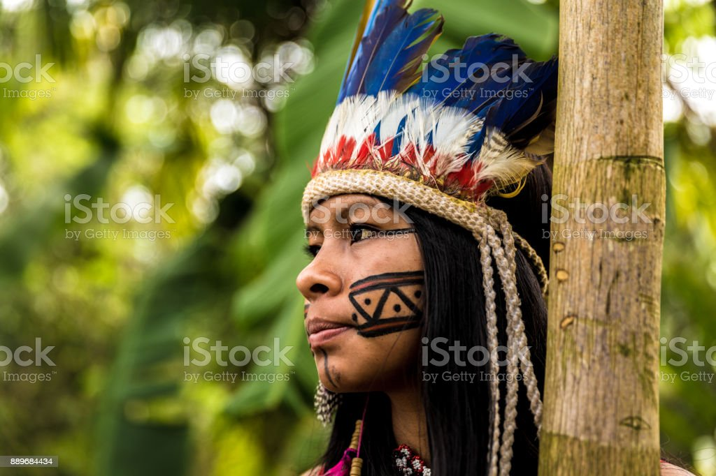 Indigenous girl from Tupi Guarani tribe in Manaus, Brazil stock photo