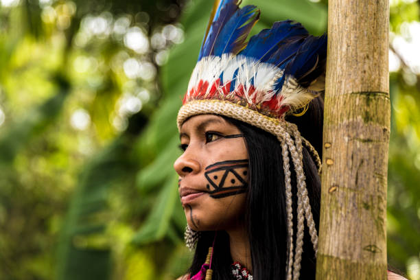 Indigenous girl from Tupi Guarani tribe in Manaus, Brazil People collection indigenous peoples of the americas stock pictures, royalty-free photos & images