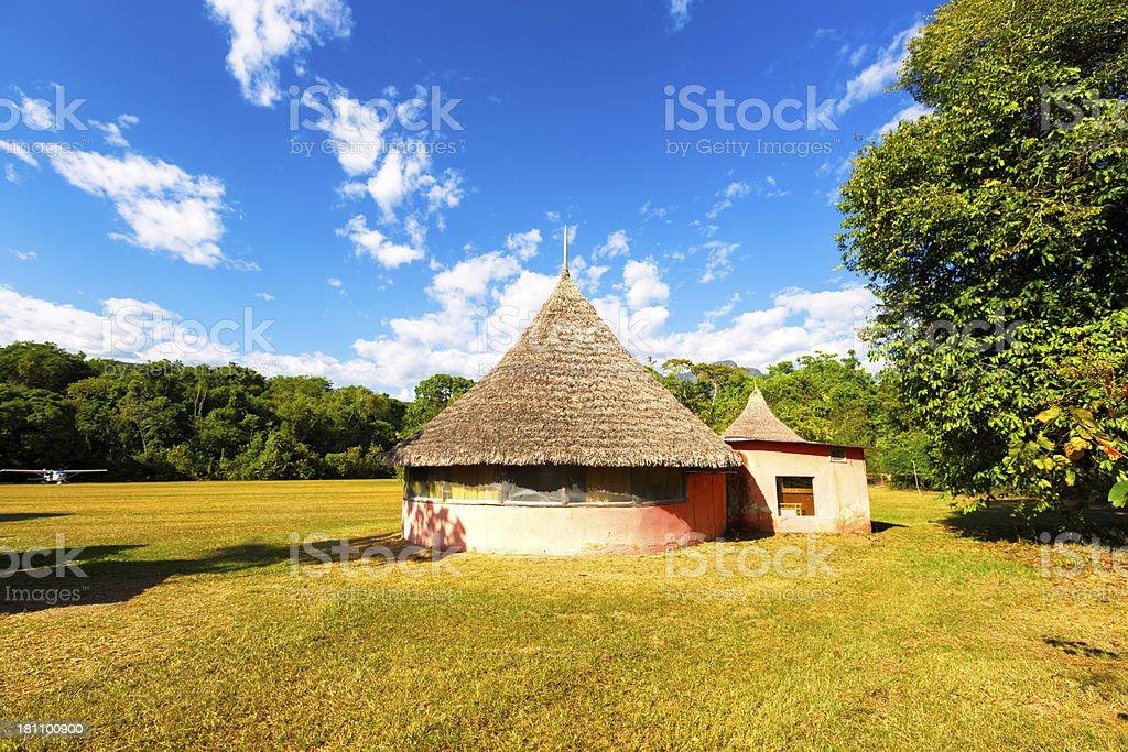 Indigenous huts at Yutaje, Amazon State, Venezuela royalty-free stock photo
