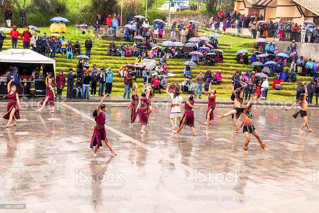 Indigenous Kids Celebrating Inti Raymi stock photo