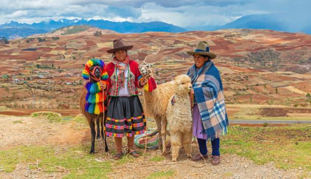 Indigenous People Panorama, Cusco, Peru stock photo