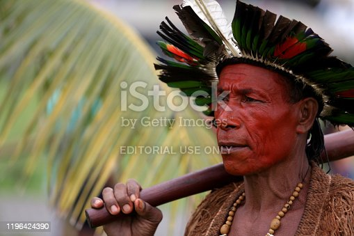 salvador, bahia / brazil - May 7, 2019: Indigenous of Bahia tribe are seen during to debate political conjuncture and demand demarcation of indigenous lands.
