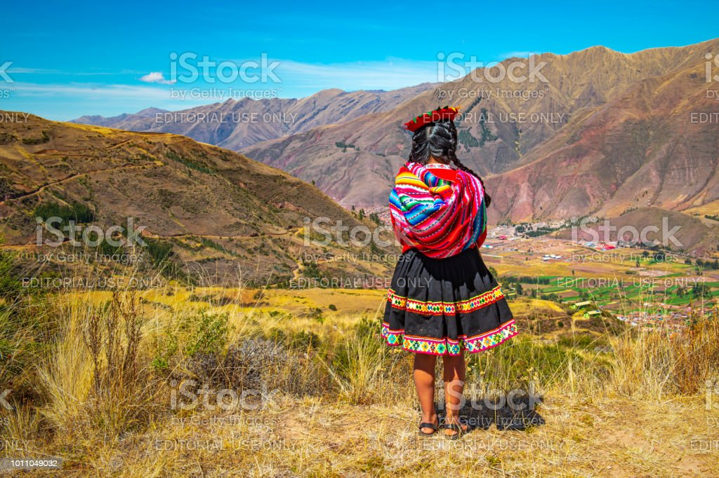Indigenous Quechua Woman in the Sacred Valley, Cusco stock photo
