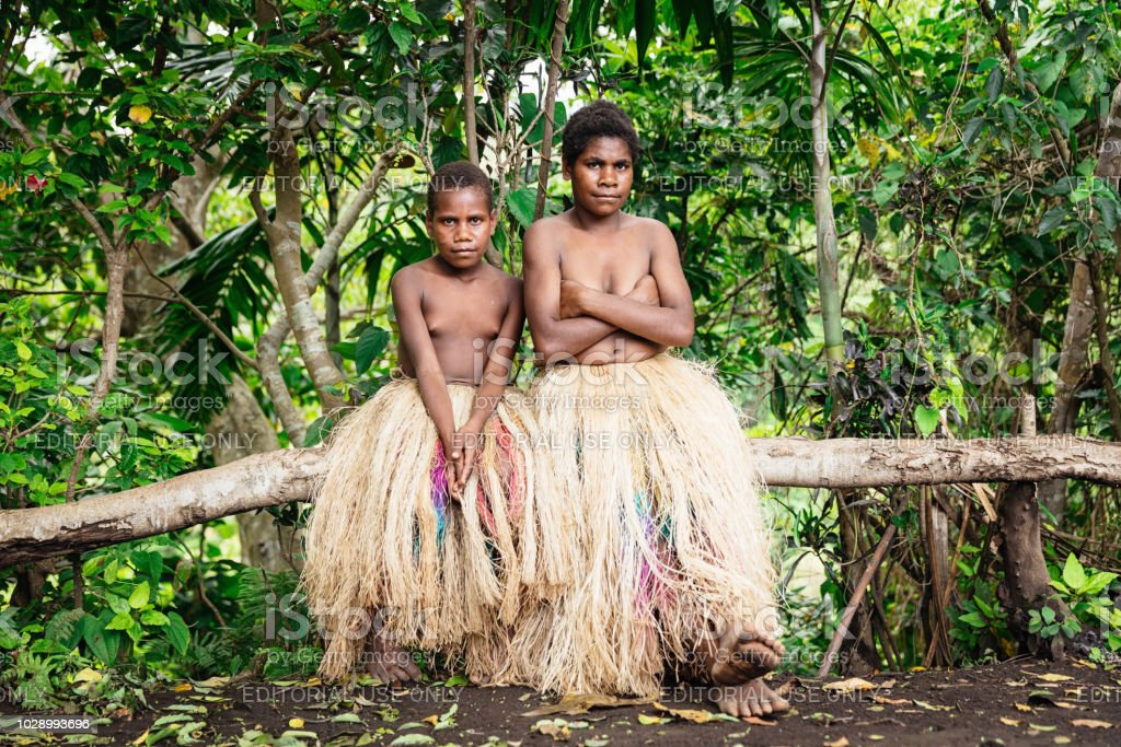 Indigenous Sisters Tanna Island Tribe Vanuatu Rainforest stock photo