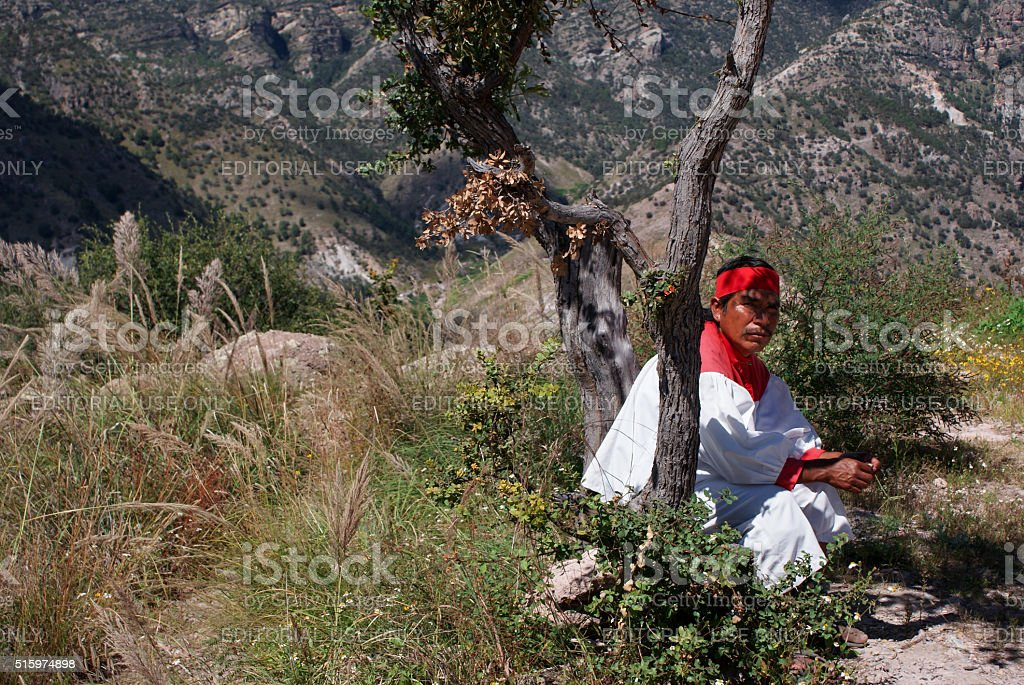 Indigenous Tarahumara man in Copper Canyons, Chihuahua, Mexico stock photo