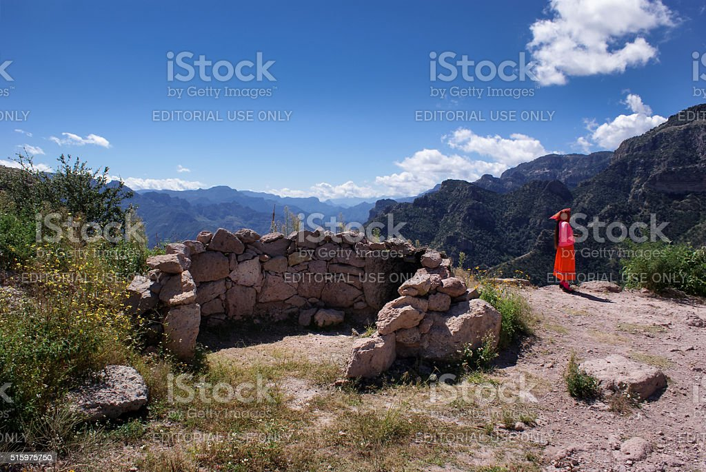 Indigenous Tarahumara woman and landscapes of Copper Canyons, Chihuahua, Mexico stock photo