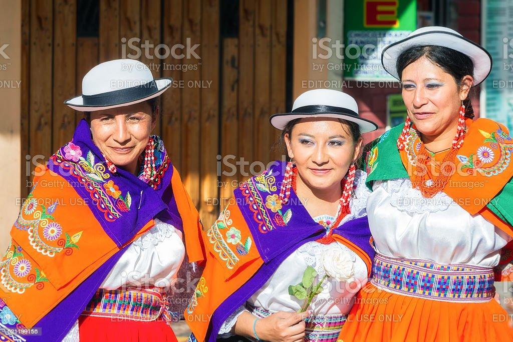 Indigenous Woman Celebrating On City Streets Of Banos stock photo