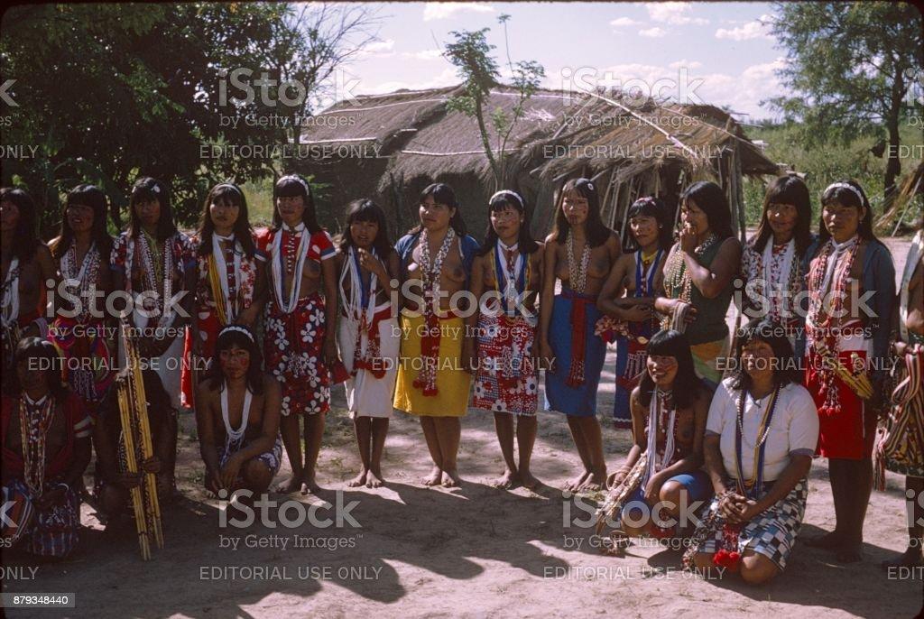 Indigenous women group, Amazonia stock photo