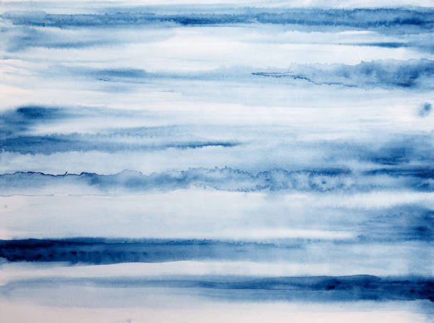 Indigo Blue and White Watercolor Painted Abstract Background, No People stock photo