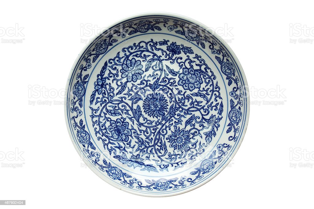 Indigo china ware stock photo