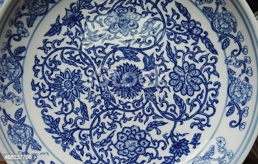 Indigo china ware with flower pattern isolated with white background