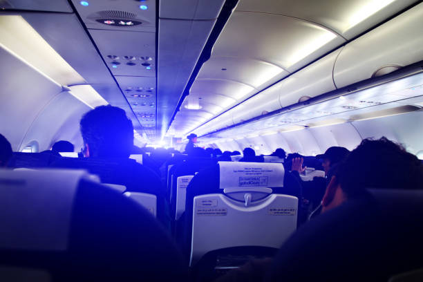 IndiGo Flight Inside, New Delhi stock photo