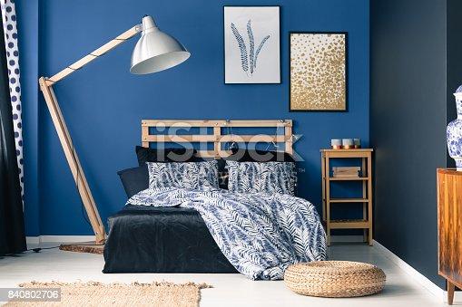 istock Indigo tones in classy bedroom 840802706