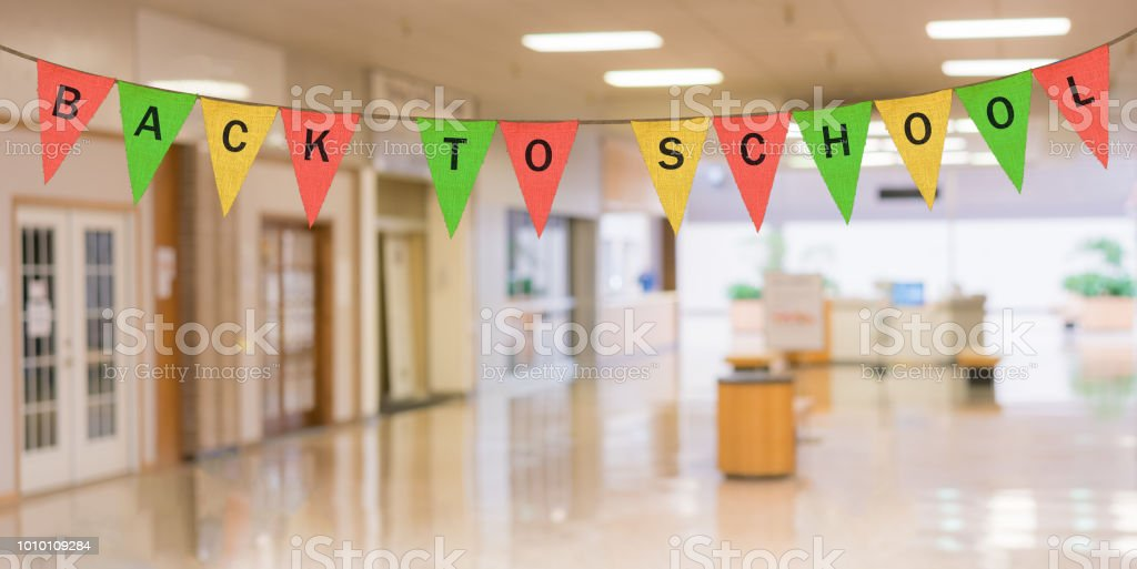 Individual cloth pennants or flags with Back to School stock photo