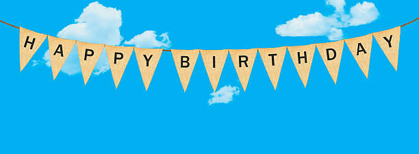 individual cloth pennants or flags with happy birthday - alles gute zum geburtstag wimpel stock-fotos und bilder