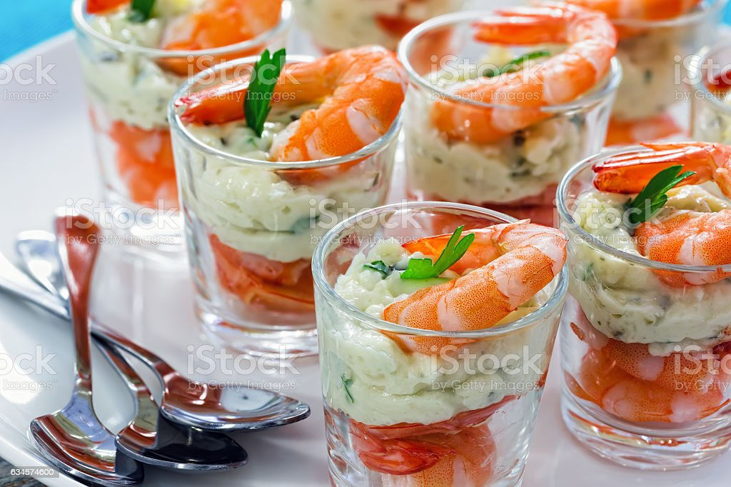 Individual Cocktail Shrimp Glass Shots For Christmas Dinner Stock Photo Download Image Now