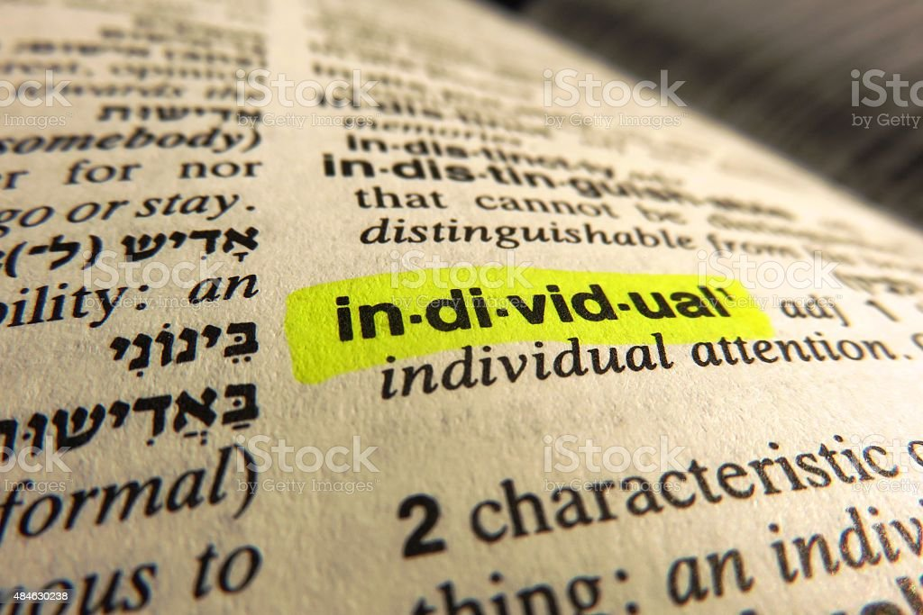 Individual - dictionary definition- dictionary definition stock photo