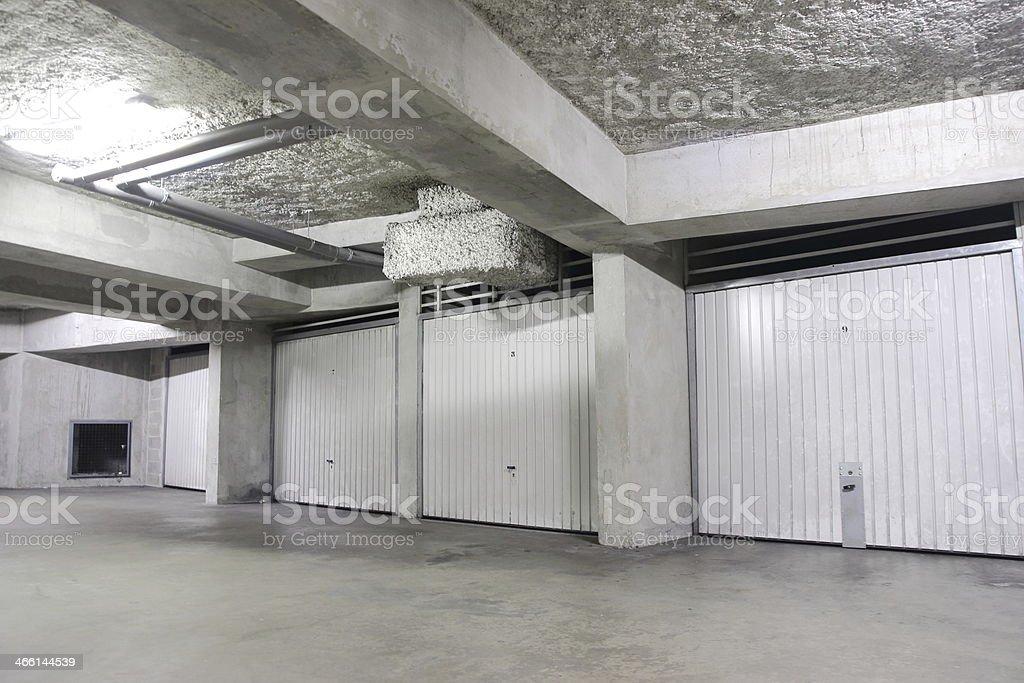 Individual garage lot underground stock photo
