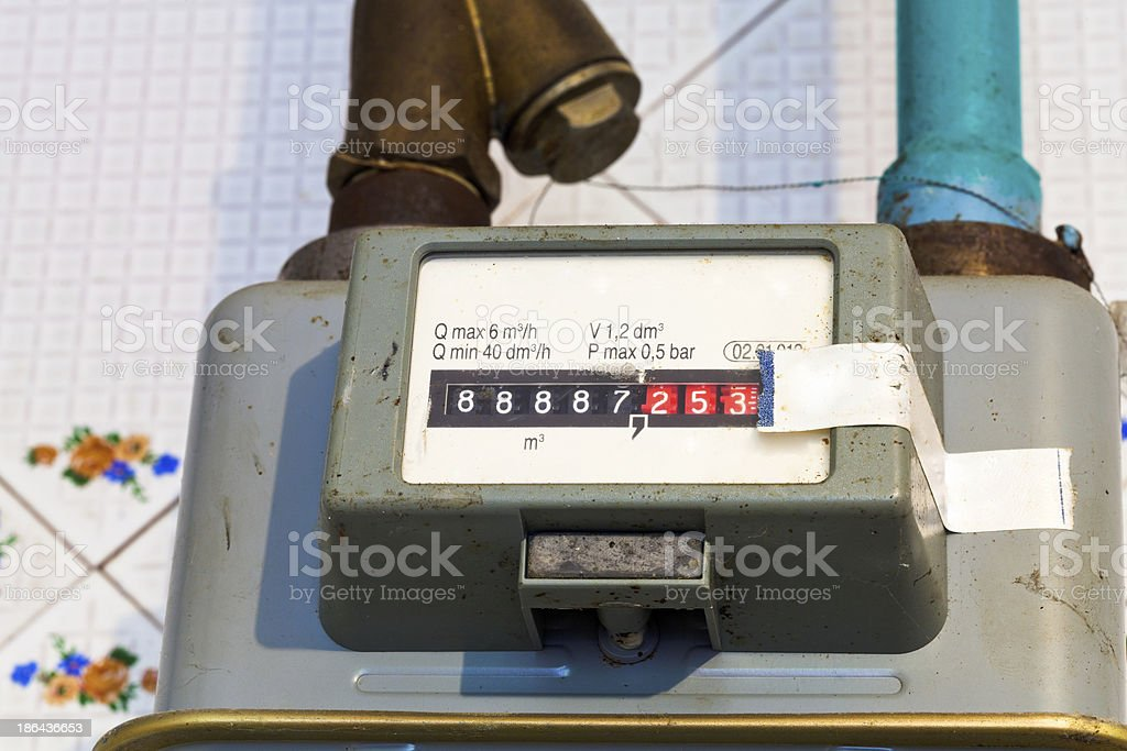 individual gas meter stock photo