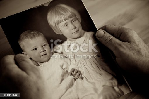 istock Individual holding picture with childhood memories 184848954