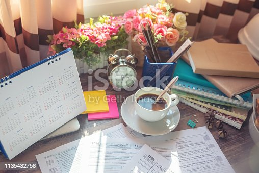istock Individual Income Tax Form and Calendar 2019 and For who have income According to United States law.This is the season that has to pay taxes,deadline of tax payment. 1135432756