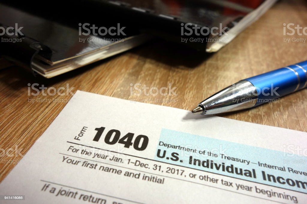Us Individual Income Tax Return Form 1040 Stock Photo More