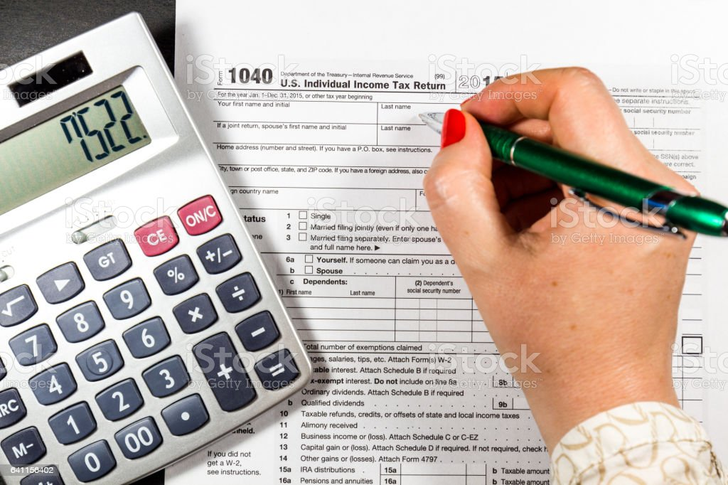 U.S. Individual income tax return. tax 1040 stock photo