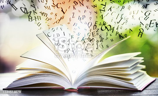 istock Individual letters fly magically out of pages of open book; 1144514629