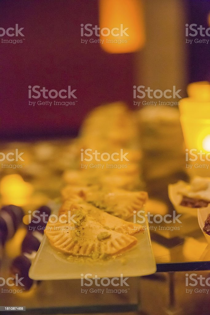 Individual Pastry Tarts on a buffet table royalty-free stock photo