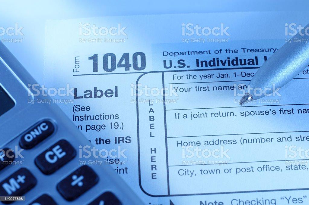 Individual tax return form royalty-free stock photo
