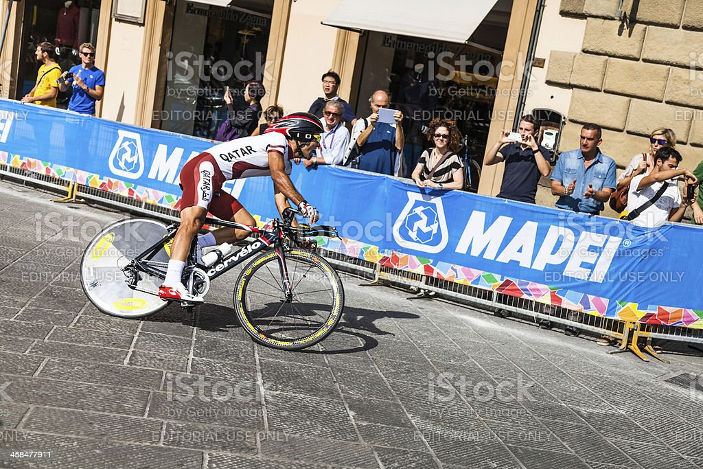 Individual time trial World Championships cycling at Santa Trinita's bridge stock photo