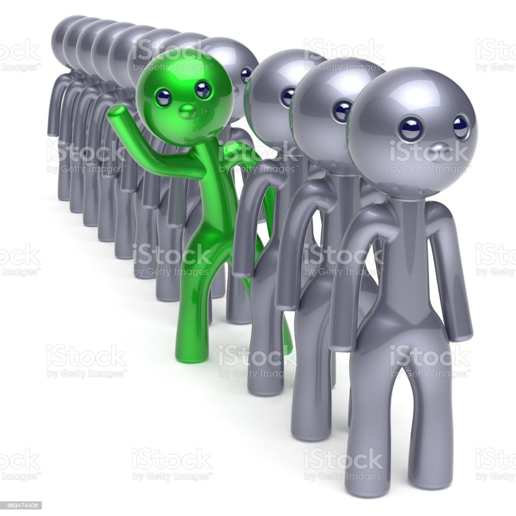 Individuality Man Character Stand Out From The Crowd Green