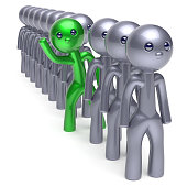 Individuality man character, stand out from the crowd green