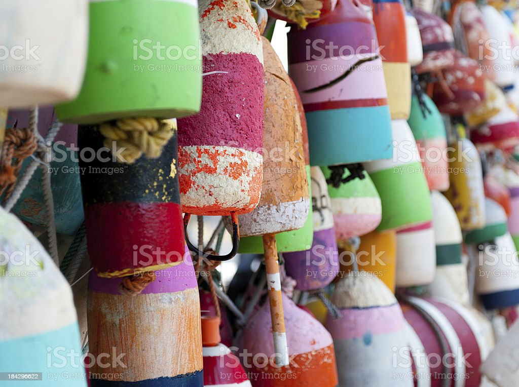 Individually Painted Marker Buoys royalty-free stock photo