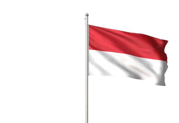 indonésia e mônaco bandeira agitando isolado no fundo branco - bandeira da indonesia - fotografias e filmes do acervo