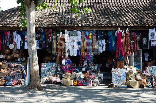 Indonesia Bali, Sept 20 2019, Souvenir shops in Ubud city