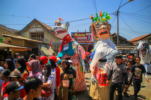 Tanjungsari, Sumedang Regency, West Java - 18 August: Participants from 12 villages participated in August Carnival at Tanjungsari Square, Sumedang Regency, West Java (08/18/2019). This event was held to celebrate the 74th Indonesian Independence Day. ( Photo By Algi Febri Sugita / Getty Images)