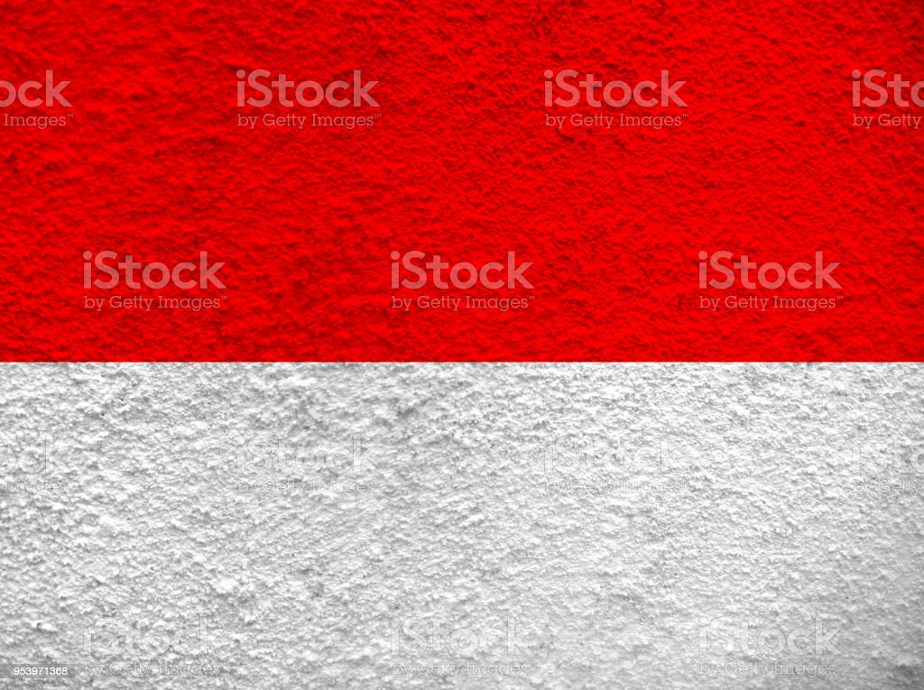 indonesia flag motif at white cement Wall stock photo