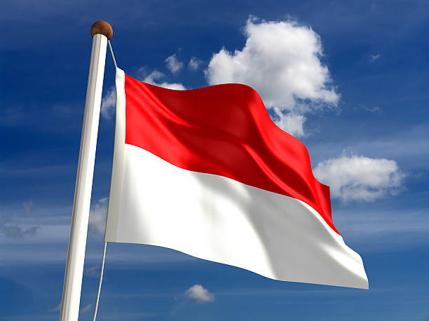bandeira da indonésia (com traçado de recorte - bandeira da indonesia - fotografias e filmes do acervo
