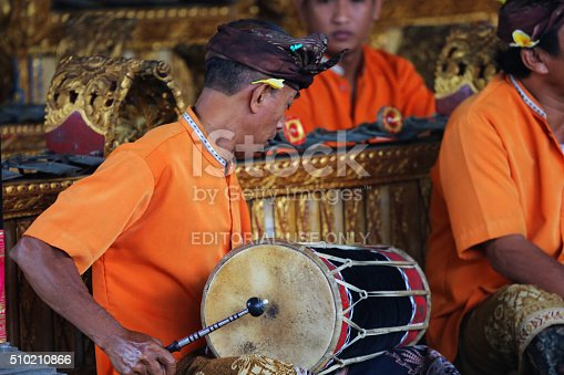 Denpasar, Indonesia - August 22, 2014: A musician playing traditional Indonesian music to accompany a Barong ceremony held in Bali.
